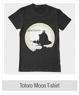 Totoro Anime Moon Team Design Men's Cotton Black T-Shirt