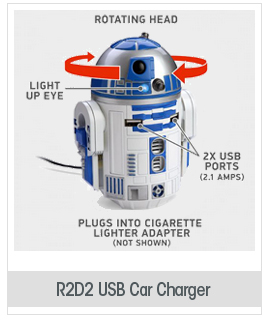 R2D2 USB Car Charger That Whistles & Beeps in Your Cup Holder
