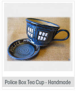 MADE TO ORDER - Police Box Tea Cup - Pottery Soup Mug - Handmade - Doctor Who Tea Cup - Dr. Who Inspired