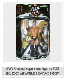 WWE Classic Superstars Figures #20 - THE Rock with Attitude Belt Accessory