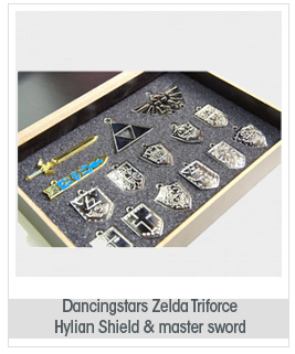 Dancingstars® Zelda Triforce Hylian Shield & Master Sword Keychain/necklace/ornament Collection